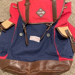 Other - Red and Blue Milburn Backpack with Leather Trim